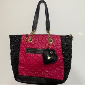 BETSEY Johnson Quilted Heart Sequin Purse